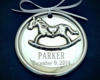 Personalized Pewter Baby Ornament, Rocking Horse