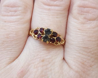 Vintage Sarah Coventry Ring, Garnet and Gray Colored Stone, Gold Tone Ring, Adjustable Ring
