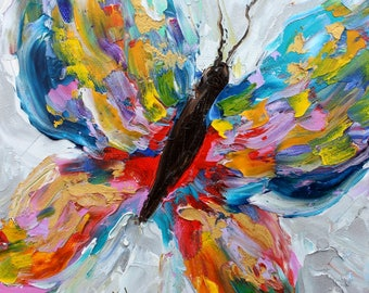 Butterfly painting Original oil abstract palette knife impressionism on canvas fine art by Karen Tarlton