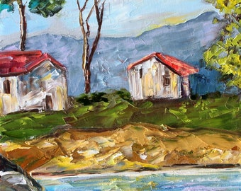 Coastal Cottage abstract painting original oil on canvas palette knife 12x16 impressionism fine art by Karen Tarlton