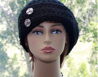 Crochet Hat Womens Chunky Cloche Hat 1920's Cloche Hat Womens Accessories, neutral black color, silver metal buttons, winter fashion