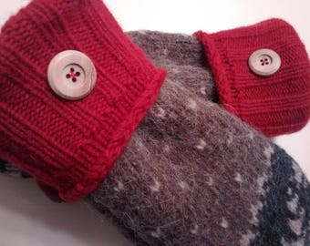 Red, tan and charcoal gray medium mittens, recycled sweaters, women's mittens, fleece lined mittens, mittens with buttons