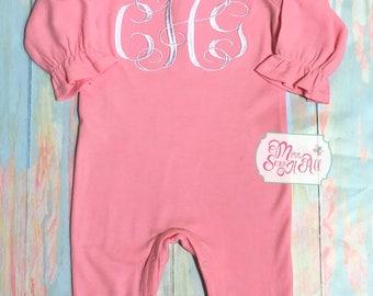 Girls Pink Ruffled Romper, Monogrammed Pink Ruffled Romper, Custom Girls Romper