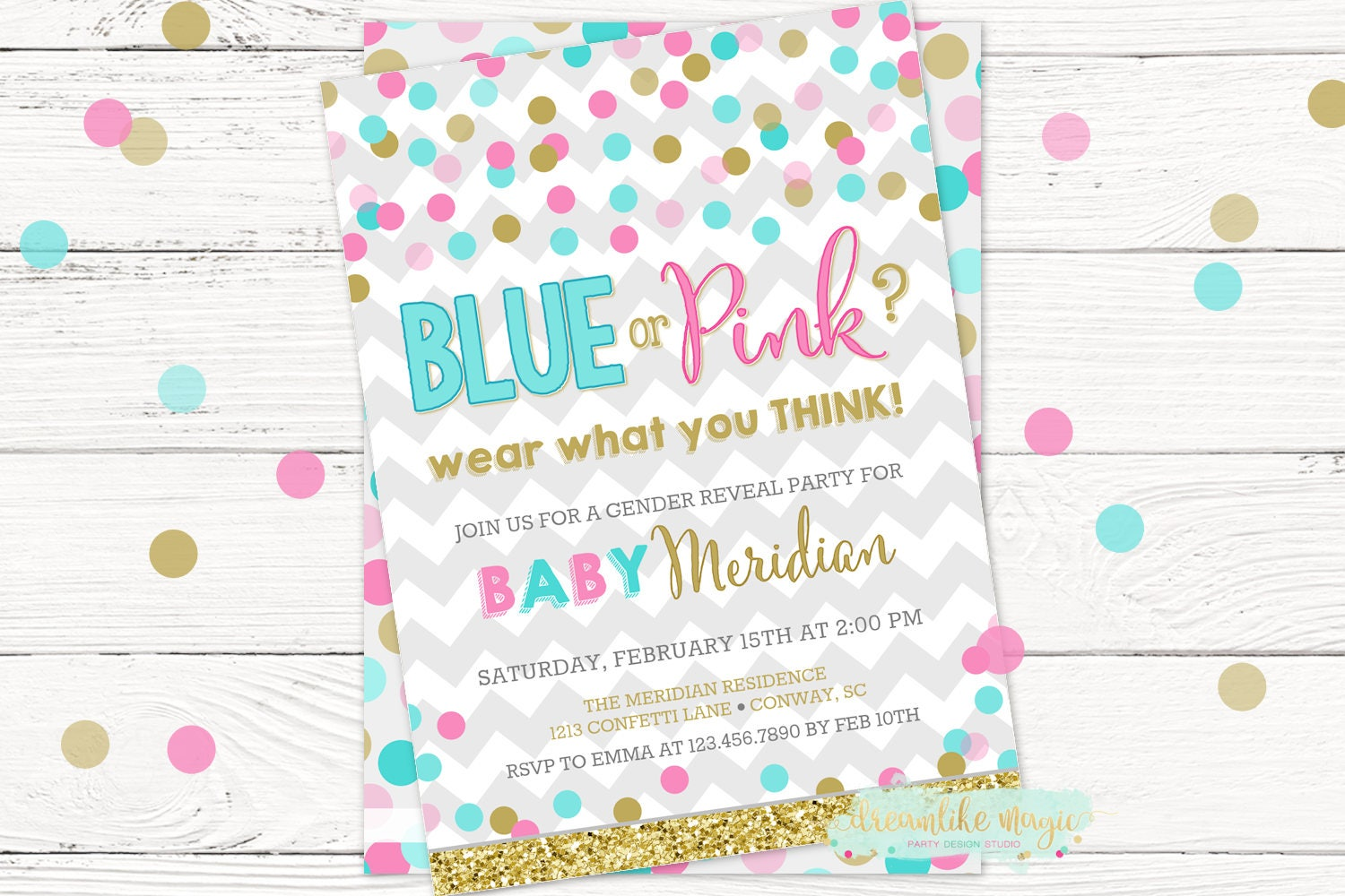 blue or pink gender reveal invite blue or pink confetti - Free Printable Gender Reveal Party Invitations