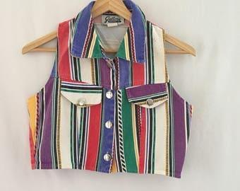 Vintage 90s Colourful Striped Denim Crop Top Vest