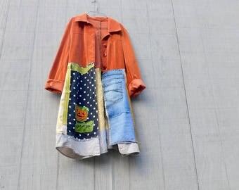 Halloween, Jacket, Upcycled Clothing, Pumpkin, Reclaimed, Wearable Art, Art Smock, Fall Fashion, Boho, Bohemian, Overcoat, Tunic