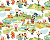 Harmony Farm White Main Fabric - Riley Blake C6690-White - 1 Yard Cut BTY - Nursery Fabric - Farm Animals Fabric - Baby Quilt Fabric