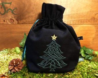 Celtic Christmas tree, embroidered purse
