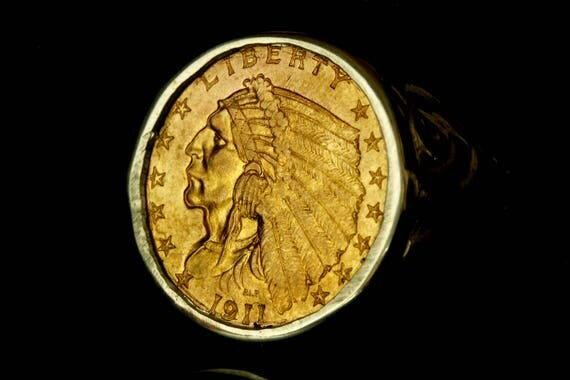 Gold US coin ring 1911 coin ring gold indian head coin