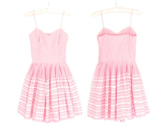 Bubblegum Gingham Dress * 50s Party Dress * Pink Lace 1950s Dress * XXS