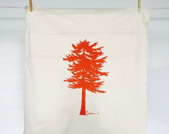 Orange Conifer Tea Towel - READY TO SHIP