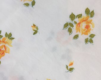 Vintage Sheet Scraps  Yellow Rose on White  68 x 68 inches