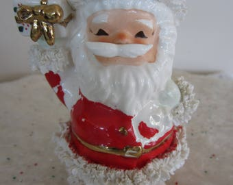 Vintage Inarco Santa Claus Candy Cane Holder Spaghetti Trim 1950's Christmas Figurine