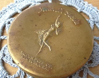 Fleur De Glorie Antique Face Powder Tin by Talcum Puff Company. 1920's Metal Face Powder Container, Naked Repoussé nymph