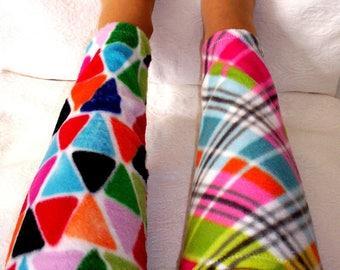 Leg Warmers, Women's Fleece Boot Liners, Colorful Girls leg warmers, Bikers Calf Warmers, Cozy Warm Fleece Leg Warmers, gift senior citizens