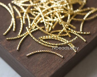 20pcs Gold plated Brass Tube Beads,  30mm Long by 1.5mm Wide, Metal Tube Spacer Beads (GB-046-2)