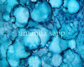 original alcohol ink painting on glazed tile-alcohol ink abstract-amanda sapp-alcohol ink art-with easel-tabletop display-for small spaces