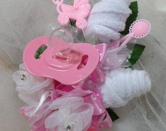 Baby Girl Shower Corsage - Pin On Baby Girl Corsage - Floral Corsage - Pacifier and Washcloths - Baby Shower Items