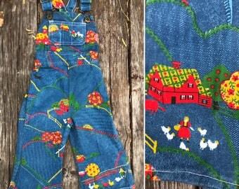 Vintage 70s toddler bellbottom overalls / FARM novelty print denim / hippie kid / size 18 months 2T