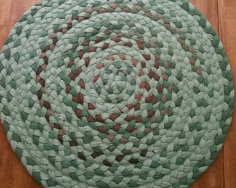 "27"" On Sale sage green and brown braided rug"