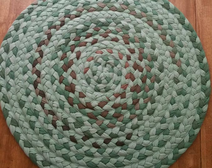 """27"""" On Sale sage green and brown braided rug"""