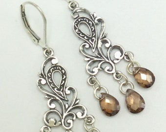 Sterling  paisley motif cubic zirconia earrings
