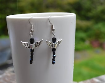Beaded Dragonfly Earrings with Hearts