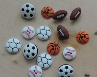 """SALE Sport Buttons, Novelty Button Assortment by Buttons Galore """"Let's Play Ball"""" Style 4070 Includes Soccer Football Baseball Basketball Bu"""