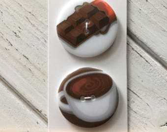 SALE Coffee and Chocolate Lover Buttons Wuttons Collection by Button Lovers Blumenthal Lansing Carded Set
