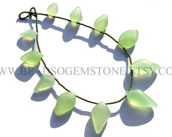 7 Inch Parrot Green Chalcedony Beads In Kite Smooth Shape, (Quality AA), 7.5x11.5 to 11.5x20, CHALCEDO-010, Semiprecious Gemstone Beads