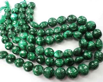 Gemstone Beads, Malachite Smooth Puffed Coin Semiprecious Stone, (Quality B) / 12 to 15 mm / 36 cm / MA-102