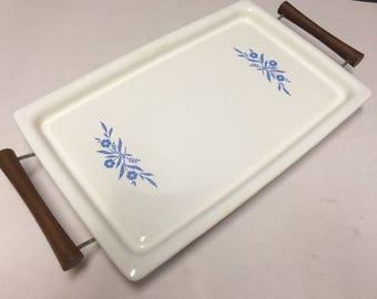 "Vintage Corning Ware Blue Cornflower Broil Bake Tray P-35-B With Wood Handled Server Metal Trivet Buffet Server 16"" x 10"""