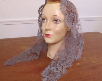 Vintage Gray Lace Church Veil - Prayer Veil Mantilla Prayer Scarf