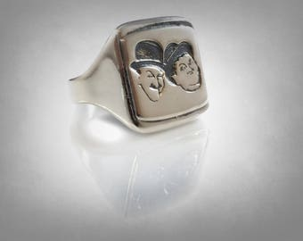 Laurel and Hardy Stan Laurel & Oliver Hardy  Ring Solid Sterling Silver 925