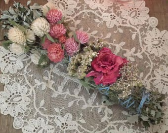 Black Sage, Mugwort, Yarrow, Rose and Wild Flowers Smudging Stick, Floral Smudging bundle