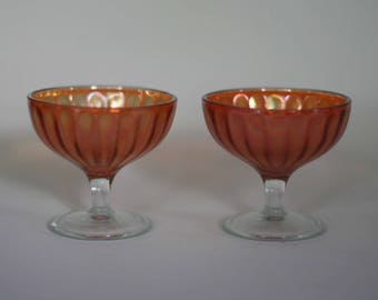 vintage carnival glass sherbet dishes set of two