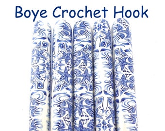 Crochet Hook, Boye Polymer Clay Covered Crochet Hooks, Custom Crochet Needle, Crochet hook size B- N,  Delft, Ocean