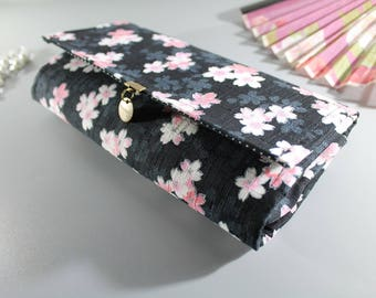 "Black white pink 8.3"" long wallet - Manami"