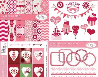 50%OFF Valentine clipart, Valentine digital paper, Valentine card templates, Valentine frames, Valentine graphics bundle, P205