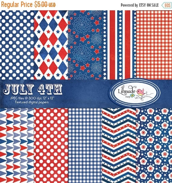 65%OFF SALE July 4th textured digital papers, Independence Day scrapbook paper, Americana digital papers, commercial use, P168