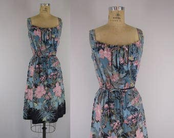 1980s Vintage Dress / 80s Floral Print Sundress