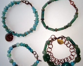 Turquoise Bracelets, Choose Your Favorite, Turquoise Chips with Sun, Green Turquoise, With Bronze Chain, Variety of turquoise, Male. Female