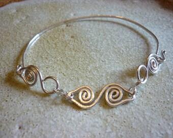 Celtic Swirl Bracelet Sterling Silver SquareHare Free Postage Vegan UK