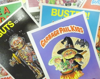 Vintage Garbage Pail Kids Large 5X7 Creepy Sticker Lot (10) Each Topps Chewing Gum 1980's Sticky Paper Fun