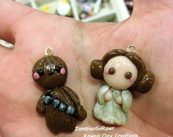Kawaii Space Princess Soace Dog Star Wars Leia and Chewbacca Inspired Chibi Clay Charm