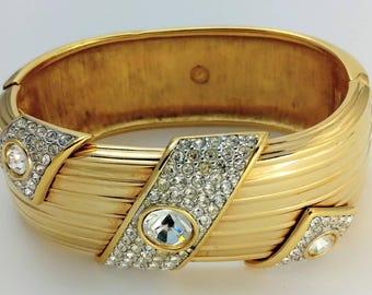 Gold Metal Clear Swarovski Crystal Cuff Clamper Bracelet Signed Swarovski Swan Logo