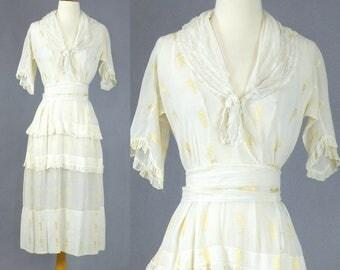 Edwardian Cotton Dress, Downton Abbey Dress, Antique Tea Dress, 1910s Dress, Sheer Cotton Dress