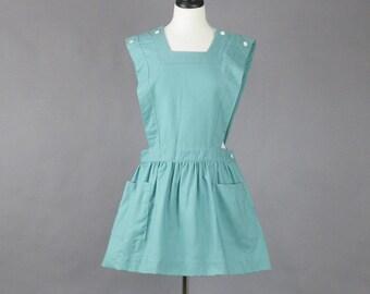 Vintage 1950s Bib Dress, 50s Mini Dress, Uniform Dress, Romper Pinafore Dress, Imperial Uniforms M - L