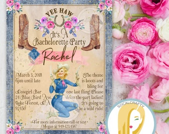 Cowgirl Bachelorette Party Invitation, Cowgirl Boots Invite, Vintage, Pinup Girl, Watercolor Floral, DIY, Printed or Printable Invites