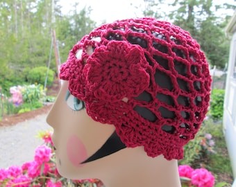 Burgundy Sun Hat Crocheted by SuzannesStitches, Sun Hat Crochet, Womens Sun Hat, Teen Formal Hat, Burgundy Sun Hat, 1920's Style Cloche, Hat